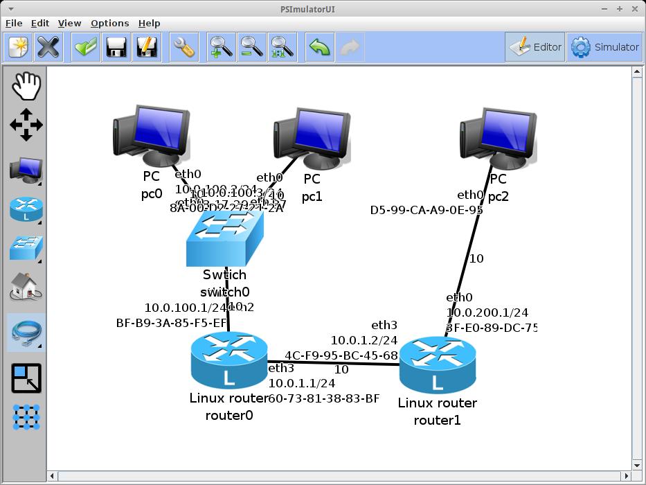 Psimulator2 A Graphical Network Simulator Open Source